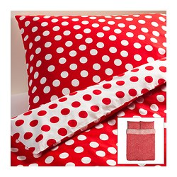 "STENKLÖVER duvet cover and pillowcase(s), red, white Duvet cover length: 86 "" Duvet cover width: 86 "" Pillowcase length: 20 "" Duvet cover length: 218 cm Duvet cover width: 218 cm Pillowcase length: 51 cm"