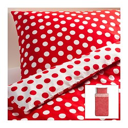 "STENKLÖVER duvet cover and pillowcase(s), red, white Duvet cover length: 86 "" Duvet cover width: 64 "" Pillowcase length: 20 "" Duvet cover length: 218 cm Duvet cover width: 162 cm Pillowcase length: 51 cm"