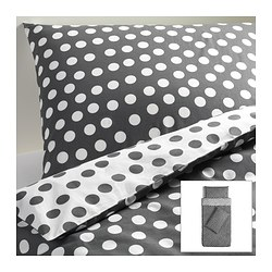 STENKLÖVER quilt cover and 2 pillowcases, grey, white Quilt cover length: 200 cm Quilt cover width: 150 cm Pillowcase length: 50 cm