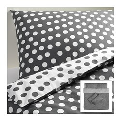 STENKLÖVER quilt cover and 4 pillowcases, grey, white Quilt cover length: 220 cm Quilt cover width: 240 cm Pillowcase length: 50 cm