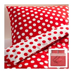 STENKLÖVER quilt cover and 4 pillowcases, red, white Quilt cover length: 220 cm Quilt cover width: 240 cm Pillowcase length: 50 cm