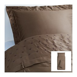 VINRANKA quilt cover and 2 pillowcases, brown Quilt cover length: 200 cm Quilt cover width: 150 cm Pillowcase length: 50 cm