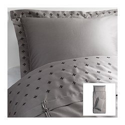 VINRANKA quilt cover and 2 pillowcases, grey Quilt cover length: 200 cm Quilt cover width: 150 cm Pillowcase length: 50 cm