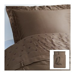 VINRANKA quilt cover and 4 pillowcases, brown Quilt cover length: 200 cm Quilt cover width: 200 cm Pillowcase length: 50 cm
