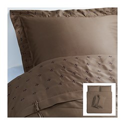VINRANKA quilt cover and 4 pillowcases, brown Quilt cover length: 220 cm Quilt cover width: 240 cm Pillowcase length: 50 cm