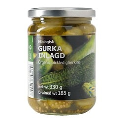GURKA INLAGD pickled gherkins, sliced Net weight: 330 g