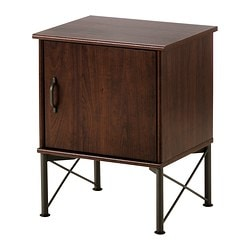 MUSKEN bedside table, brown Width: 45 cm Depth: 38 cm Free height under furniture: 20 cm
