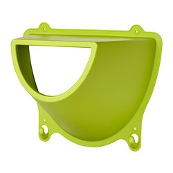 KROKIG wall storage with hooks, green Width: 36 cm Depth: 20 cm Height: 29 cm