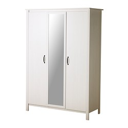 BRUSALI, Wardrobe with 3 doors, white