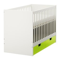STUVA cot with drawers, green Bed width: 60 cm Bed length: 120 cm