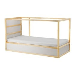 KURA reversible bed, white, pine