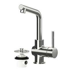 LUNDSKÄR wash-basin mixer tap with strainer, stainless steel colour Height: 25 cm