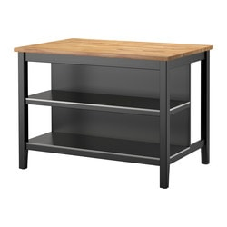 STENSTORP kitchen island, black-brown, oak
