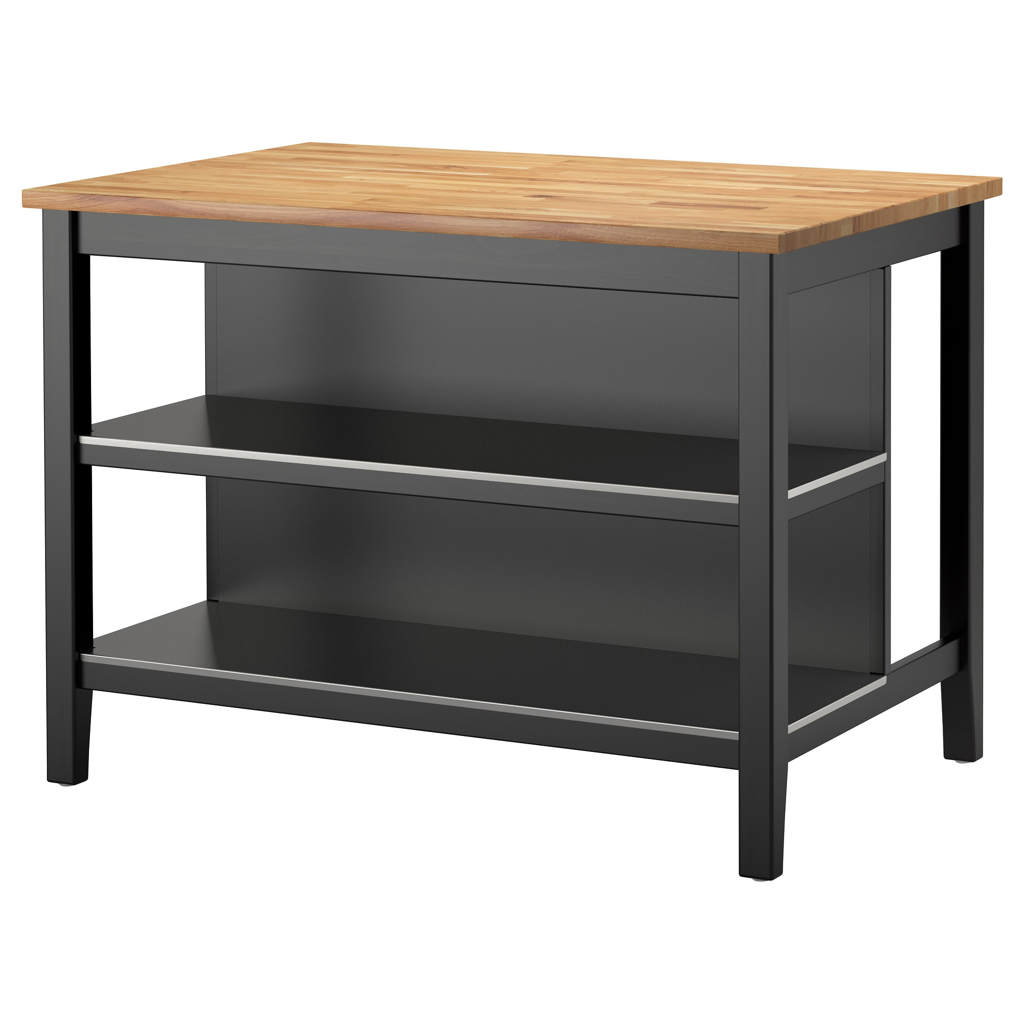 Stenstorp Kitchen Island Black Brown Oak Length 49 5 8
