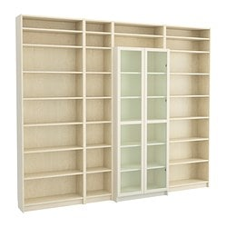"BILLY bookcase with height extension unit, white, birch veneer Width: 110 1/4 "" Depth: 11 "" Max. depth: 15 3/8 "" Width: 280 cm Depth: 28 cm Max. depth: 39 cm"