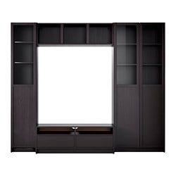 "BILLY bookcase combination with TV bench, black-brown Width: 94 1/2 "" Max. depth: 15 3/8 "" Height: 79 1/2 "" Width: 240 cm Max. depth: 39 cm Height: 202 cm"
