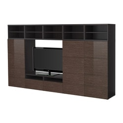 "BESTÅ TV storage combination, high-gloss/brown, black-brown bamboo pattern Width: 118 1/8 "" Depth: 15 3/4 "" Height: 65 3/8 "" Width: 300 cm Depth: 40 cm Height: 166 cm"