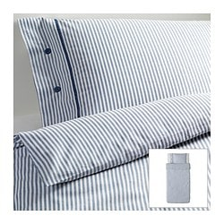 NYPONROS quilt cover and pillowcase, white/blue Quilt cover length: 200 cm Quilt cover width: 150 cm Pillowcase length: 50 cm