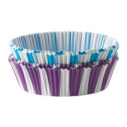 DRÖMMAR baking cup, blue/green, lilac Diameter: 7 cm Height: 2.5 cm Package quantity: 60 pieces