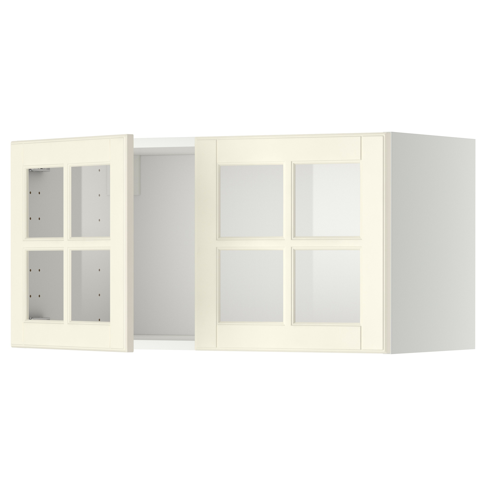METOD Wall cabinet with 2 glass doors white Bodbyn off white IKEA