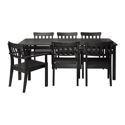 ÄNGSÖ table+6 chairs w armrests, outdoor, black stained black-brown black-brown stained