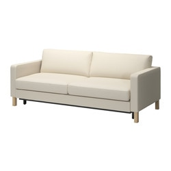 KARLSTAD three-seat sofa-bed w storage, Isefall natural Depth: 93 cm Height: 83 cm Seat depth: 56 cm