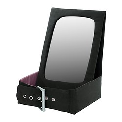 BETRAKTA table mirror with storage, black, pink