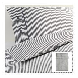 "NYPONROS duvet cover and pillowcase(s), gray Duvet cover length: 86 "" Duvet cover width: 86 "" Pillowcase length: 20 "" Duvet cover length: 218 cm Duvet cover width: 218 cm Pillowcase length: 51 cm"