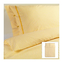 "NYPONROS duvet cover and pillowcase(s), yellow Duvet cover length: 86 "" Duvet cover width: 86 "" Pillowcase length: 20 "" Duvet cover length: 218 cm Duvet cover width: 218 cm Pillowcase length: 51 cm"