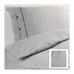 "NYPONROS duvet cover and pillowcase(s), gray Duvet cover length: 86 "" Duvet cover width: 102 "" Pillowcase length: 20 "" Duvet cover length: 218 cm Duvet cover width: 259 cm Pillowcase length: 51 cm"
