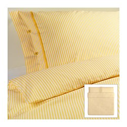 "NYPONROS duvet cover and pillowcase(s), yellow Duvet cover length: 86 "" Duvet cover width: 102 "" Pillowcase length: 20 "" Duvet cover length: 218 cm Duvet cover width: 259 cm Pillowcase length: 51 cm"