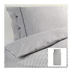 "NYPONROS duvet cover and pillowcase(s), gray Duvet cover length: 86 "" Duvet cover width: 64 "" Pillowcase length: 20 "" Duvet cover length: 218 cm Duvet cover width: 162 cm Pillowcase length: 51 cm"