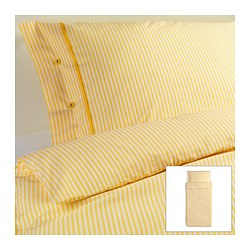 "NYPONROS duvet cover and pillowcase(s), yellow Duvet cover length: 86 "" Duvet cover width: 64 "" Pillowcase length: 20 "" Duvet cover length: 218 cm Duvet cover width: 162 cm Pillowcase length: 51 cm"