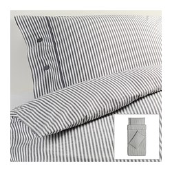 NYPONROS quilt cover and 2 pillowcases, grey Quilt cover length: 200 cm Quilt cover width: 150 cm Pillowcase length: 50 cm