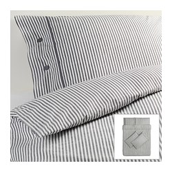 NYPONROS quilt cover and 4 pillowcases, grey Quilt cover length: 200 cm Quilt cover width: 200 cm Pillowcase length: 50 cm