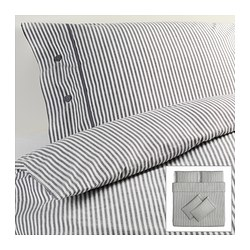 NYPONROS quilt cover and 4 pillowcases, grey Quilt cover length: 220 cm Quilt cover width: 240 cm Pillowcase length: 50 cm
