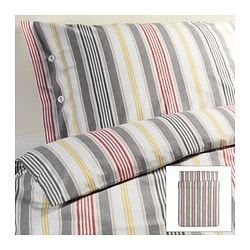 "ÅKERFRÄKEN duvet cover and pillowcase(s), stripe Duvet cover length: 86 "" Duvet cover width: 86 "" Pillowcase length: 20 "" Duvet cover length: 218 cm Duvet cover width: 218 cm Pillowcase length: 51 cm"