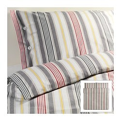 "ÅKERFRÄKEN duvet cover and pillowcase(s), stripe Duvet cover length: 86 "" Duvet cover width: 102 "" Pillowcase length: 20 "" Duvet cover length: 218 cm Duvet cover width: 259 cm Pillowcase length: 51 cm"