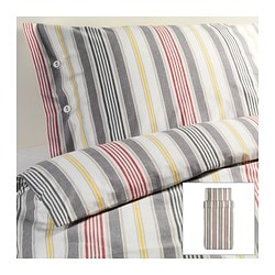 "ÅKERFRÄKEN duvet cover and pillowcase(s), stripe Duvet cover length: 86 "" Duvet cover width: 64 "" Pillowcase length: 20 "" Duvet cover length: 218 cm Duvet cover width: 162 cm Pillowcase length: 51 cm"