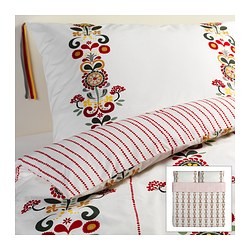 "ÅKERKULLA duvet cover and pillowcase(s), flower Duvet cover length: 86 "" Duvet cover width: 102 "" Pillowcase length: 20 "" Duvet cover length: 218 cm Duvet cover width: 259 cm Pillowcase length: 51 cm"
