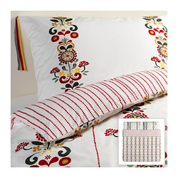 ÅKERKULLA quilt cover and 2 pillowcases, flower Quilt cover length: 220 cm Quilt cover width: 240 cm Pillowcase length: 50 cm
