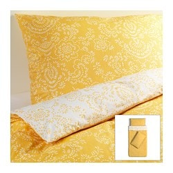 ÅKERTISTEL quilt cover and 2 pillowcases, yellow Quilt cover length: 200 cm Quilt cover width: 150 cm Pillowcase length: 50 cm