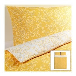 ÅKERTISTEL quilt cover and 2 pillowcases, yellow Quilt cover length: 230 cm Quilt cover width: 200 cm Pillowcase length: 50 cm