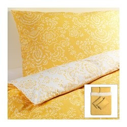 ÅKERTISTEL quilt cover and 4 pillowcases, yellow Quilt cover length: 200 cm Quilt cover width: 200 cm Pillowcase length: 50 cm