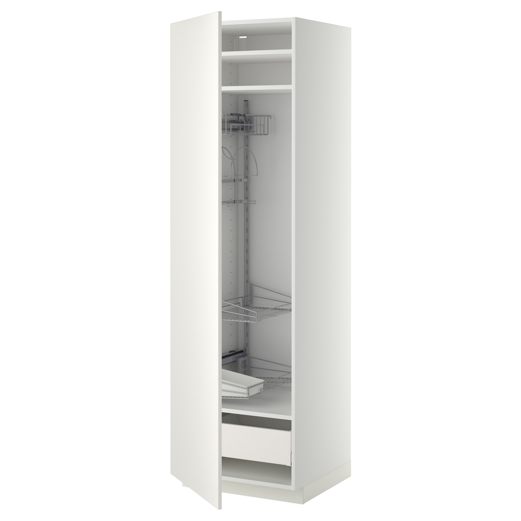 Metod high cabinet with cleaning interior   white, ma, veddinge ...