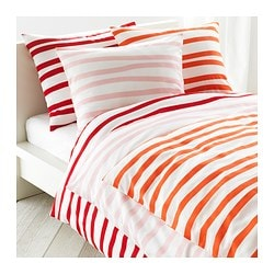 "SPRINGKORN duvet cover and pillowcase(s), red Duvet cover length: 86 "" Duvet cover width: 86 "" Pillowcase length: 20 "" Duvet cover length: 218 cm Duvet cover width: 218 cm Pillowcase length: 51 cm"