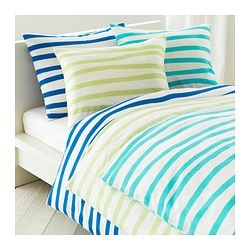 "SPRINGKORN duvet cover and pillowcase(s), blue Duvet cover length: 86 "" Duvet cover width: 64 "" Pillowcase length: 20 "" Duvet cover length: 218 cm Duvet cover width: 162 cm Pillowcase length: 51 cm"