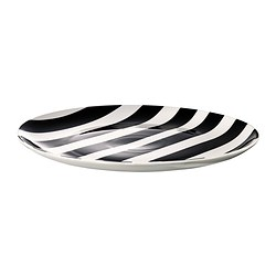 TICKAR plate, white, black Diameter: 31 cm