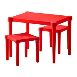 UTTER children's table with 2 stools, red in/outdoor red Table length: 58 cm Table width: 42 cm Table height: 43 cm