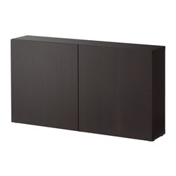 BESTÅ shelf unit with doors Width: 120 cm Depth: 20 cm Height: 64 cm